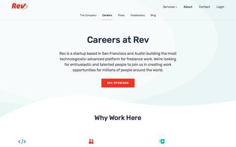 Screenshot of Jobs Page rev.com - Careers - Rev - captured Sept. 19, 2018