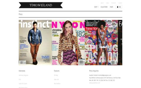 Screenshot of Press Page timoweiland.com - Press                           | Timo Weiland - captured Oct. 7, 2014