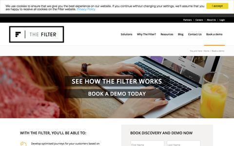 Screenshot of thefilter.com - Book a Demo with The Filter - captured Aug. 3, 2017