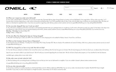 Screenshot of Support Page oneill.com - Customer Service – O'Neill - captured Sept. 20, 2018