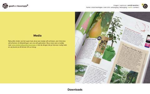 Screenshot of Press Page geefeenboompje.nl - Informatie voor de pers. Neem contact met ons op GeefeenBoompje.nl - captured July 19, 2017