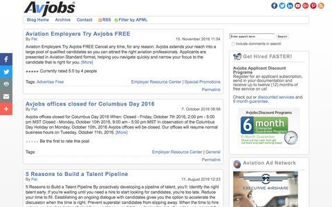 Screenshot of Blog avjobs.com - Avjobs | Aviation Jobs Blog - captured Nov. 19, 2016
