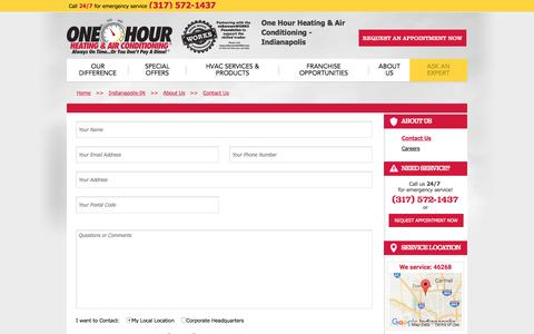 Screenshot of Contact Page onehourheatandair.com - Contact Us   One Hour Heating & Air Conditioning Indianapolis - captured Nov. 24, 2016