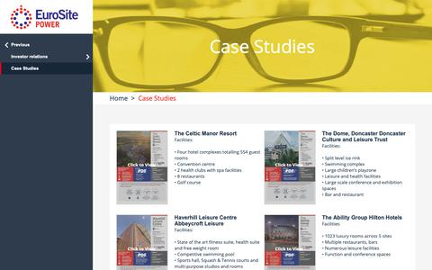 Screenshot of Case Studies Page eurositepower.co.uk - EuroSite Power ::  Case Studies - captured Sept. 29, 2018