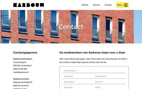 Screenshot of Contact Page karbouw.nl - Contact - Karbouw - captured Nov. 27, 2016