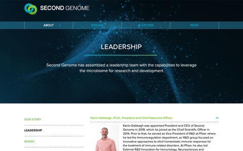Screenshot of Team Page secondgenome.com - Second Genome   Leadership - captured Jan. 11, 2019