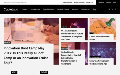 Screenshot of Home Page cablelabs.com - Home - CableLabs - captured May 13, 2017