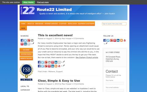 Screenshot of Blog route22.co.uk - Blog - Route22 Limited - captured Oct. 7, 2014