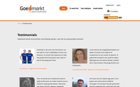 Screenshot of Testimonials Page goedmarkt.nl - Testimonials - captured Sept. 30, 2014
