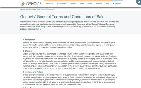 Screenshot of Terms Page genovis.com - Genovis » Terms and Conditions - captured June 28, 2017