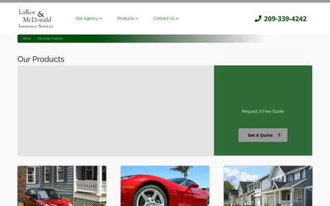 Screenshot of Products Page lodiinsurance.com - Personal Products - captured Sept. 26, 2018