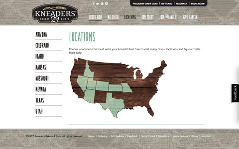 Screenshot of Locations Page kneaders.com - Kneaders Bakery & Cafe - Locations - captured Sept. 30, 2017
