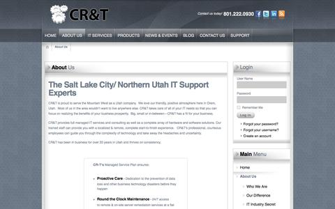 Screenshot of About Page cr-t.com - About Us | Salt Lake City, Northern Utah | CR&T Calculated Research & Technology - captured Oct. 28, 2014