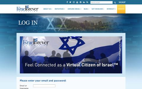 Screenshot of Login Page israelforever.org - Log In: The Israel Forever Foundation - captured Oct. 15, 2017
