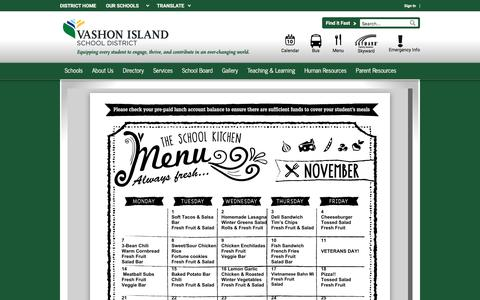Screenshot of Menu Page vashonsd.org - Lunch Menu / Lunch - captured Nov. 29, 2016