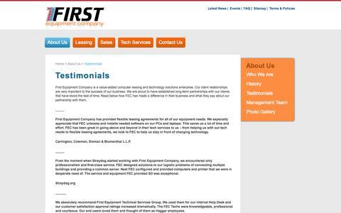 Screenshot of Testimonials Page firstequipment.com - Testimonials |First Equipment Company - captured Oct. 6, 2014