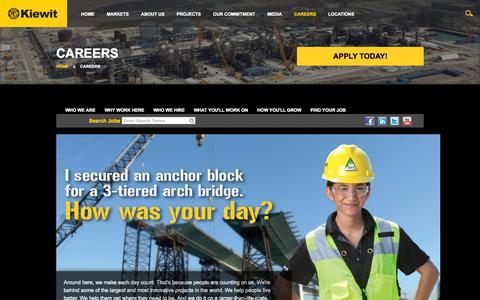 Screenshot of Jobs Page kiewit.com - Kiewit : Careers - captured Nov. 2, 2014