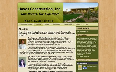 Screenshot of About Page hayesconstructiontucson.com - About Us   Hayes Construction - captured Oct. 2, 2014