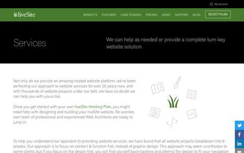 Screenshot of Services Page livesite.com - liveSite Enterprise Website Platform - Services - captured April 30, 2017