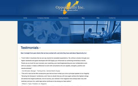 Screenshot of Testimonials Page opportunity-inc.com - Small Business Coaches | Testimonials | Opportunity Inc - captured Oct. 26, 2014