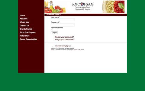 Screenshot of Login Page sofofoods.com - Sofo Foods - . - captured June 16, 2017