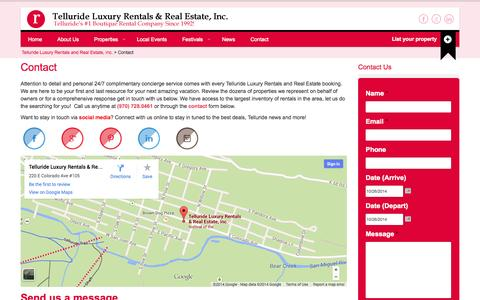 Screenshot of Contact Page telluriderentals.net - Contact - Telluride Luxury Rentals and Real Estate, Inc. - captured Oct. 27, 2014