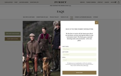 Screenshot of FAQ Page purdey.com - FAQs | Purdey & Sons - captured July 24, 2018