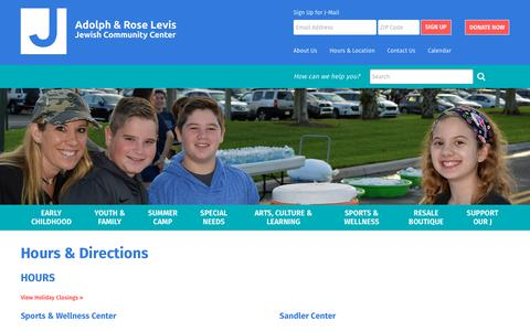 Screenshot of Hours Page levisjcc.org - Adolph & Rose Levis Jewish Community Center: Hours & Directions - captured Oct. 3, 2018