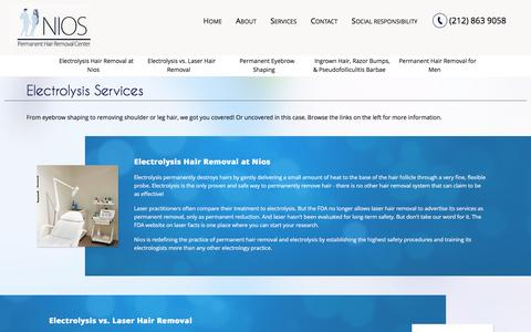 Screenshot of Services Page niosspa.com - About Electrolysis | Nios - captured Jan. 11, 2016