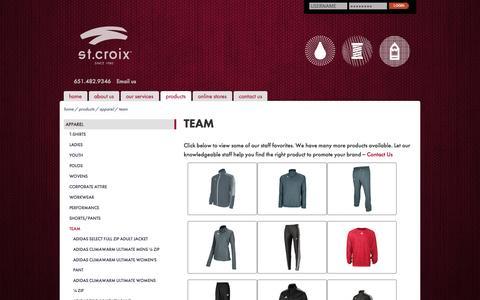 Screenshot of Team Page stcroixprint.com - Team Apparel :: St. Croix - captured Sept. 30, 2014