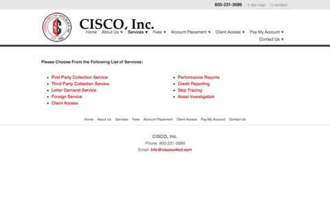 Screenshot of Services Page ciscocollect.com - Services - captured Sept. 25, 2018