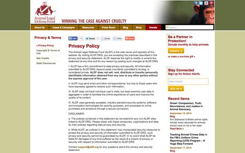 Screenshot of Privacy Page aldf.org - Privacy Policy | Animal Legal Defense Fund - captured Sept. 22, 2014