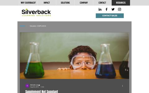 Screenshot of Blog silverbacklearning.com - RESOURCES | Silverback Learning - captured Jan. 25, 2020