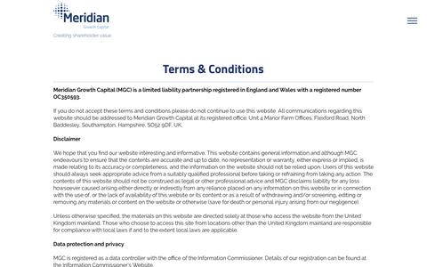 Screenshot of Terms Page meridiangc.com - Meridian Growth Capital | Terms & Conditions - captured Oct. 17, 2018