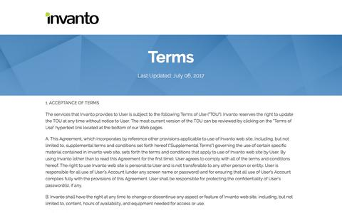 Screenshot of Terms Page invanto.com - Terms — Invanto Labs - captured July 8, 2017
