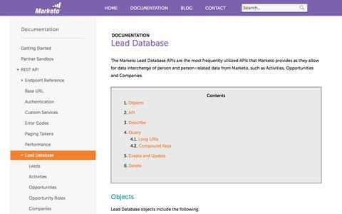 Screenshot of marketo.com - Lead Database - Marketo Developers - captured June 8, 2017