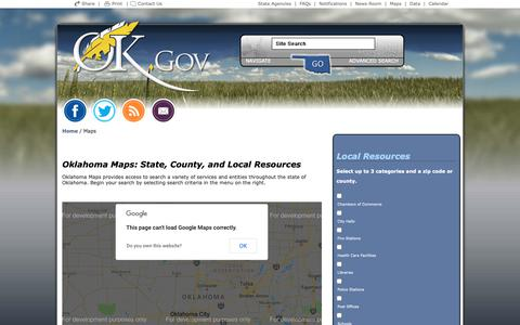 Screenshot of Maps & Directions Page ok.gov - Welcome to Oklahoma's Official Web Site - captured Nov. 7, 2018
