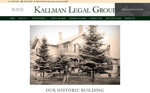 Screenshot of About Page kallmanlegal.com - Our Historic Building - Kallman Legal Group - captured Oct. 16, 2017