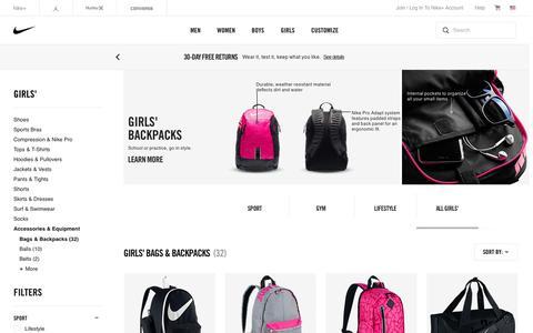 Screenshot of nike.com - Girls' Backpacks & Book Bags. Nike.com - captured Aug. 11, 2016