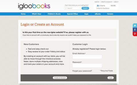 Screenshot of Login Page igloobooks.com - Customer Login - captured Sept. 25, 2014