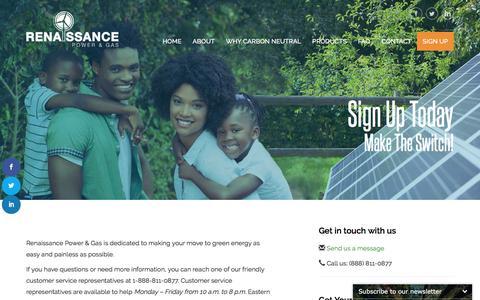 Screenshot of Signup Page renaissancepowerandgas.com - Sign Up - Renaissance Power and Gas - captured Sept. 20, 2018
