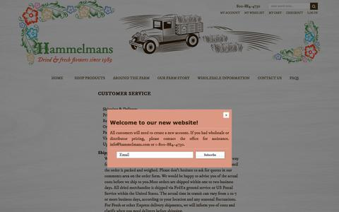 Screenshot of Support Page hammelmans.com - Customer Service - captured Sept. 27, 2018