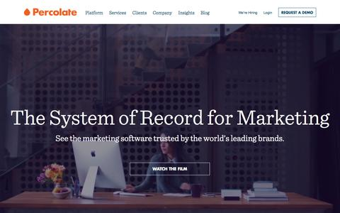 Screenshot of Home Page percolate.com - Percolate | Complete Marketing Software for Global Brands - captured Oct. 1, 2015