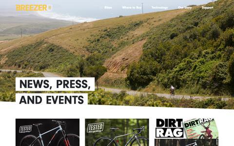 Screenshot of Press Page breezerbikes.com - Breezer Bikes - News - captured Nov. 15, 2018