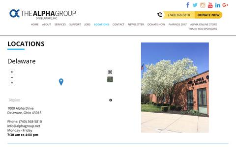 Screenshot of Locations Page alphagroup.net - Helping People with Disabilities Succeed - Alpha Group of Delaware Inc. - captured Oct. 27, 2017