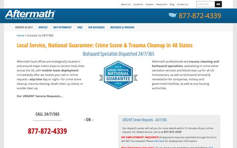 Screenshot of Contact Page Locations Page aftermath.com - Crime Scene Cleanup | Nationwide Dispatch 24/7 | Aftermath - captured Oct. 25, 2014