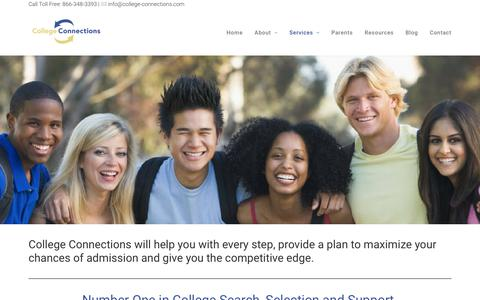Screenshot of Services Page college-connections.com - College Prep | College Connections - captured Aug. 16, 2017