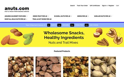 Screenshot of Home Page anuts.com - Great Tasting Nuts, Seeds, Dried Fruit, Gourmet Popcorn | anuts.com - captured Oct. 3, 2018