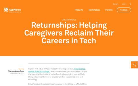 Screenshot of Jobs Page appnexus.com - Returnships: Helping Caregivers Reclaim Their Careers in Tech | AppNexus - captured Nov. 18, 2019