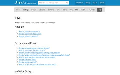 Screenshot of FAQ Page jimdo.com - FAQ - Jimdo Support Center (US) - captured Nov. 4, 2014
